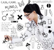 Female doctor drawing on transparent screen