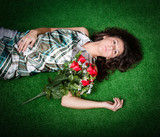 romantic woman with red roses