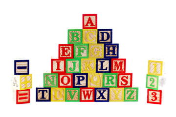 ABC wooden blocks on white