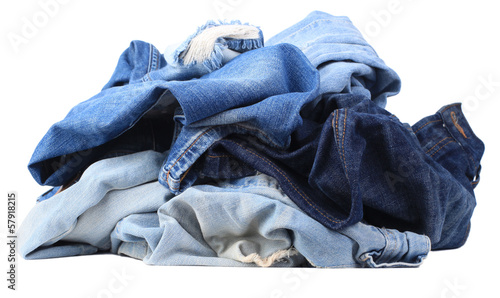 Set of jeans isolated on white background