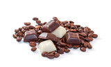 Chocolate and coffee beans on a white background