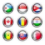 World flags round buttons