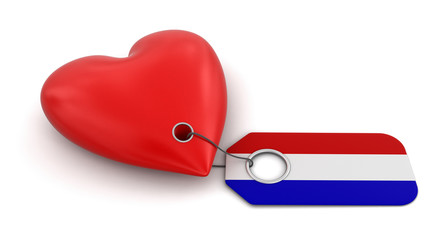 Heart with Netherlands flag (clipping path included)