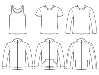 Singlet, T-shirt, Long-sleeved T-shirt, Sweatshirts and Jacket t