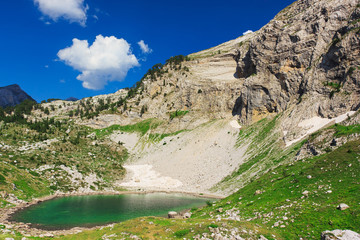 Amazing view of mountain lake in Albanian Alps
