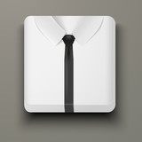 Premium Icon white shirt and black tie.