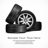 Car black new wheels on white background, vector illustration