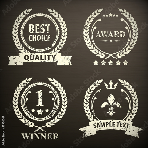Laurel wreath emblem, isolated on black, vector illustration