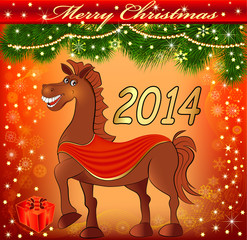 of a postcard with a Christmas fun with a gift horse