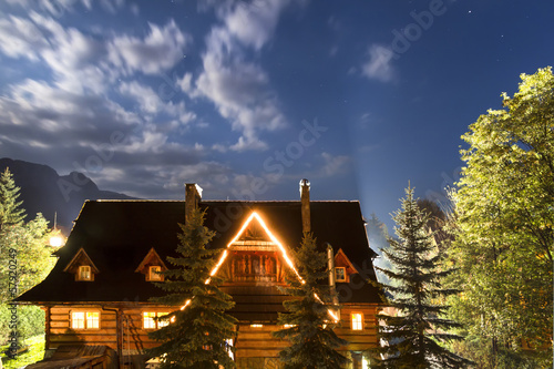 National Park - Tatras.Old country house against sky.