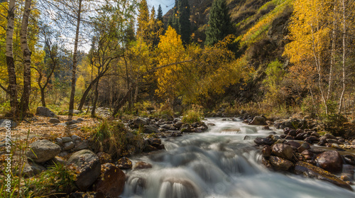 autumn landscape mountain river