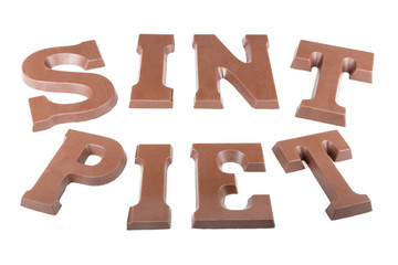 "Chocolate letters making the word 'Sint'  and ""Piet'"