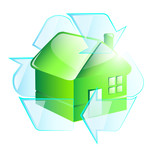 Green glossy house in recycle symbol