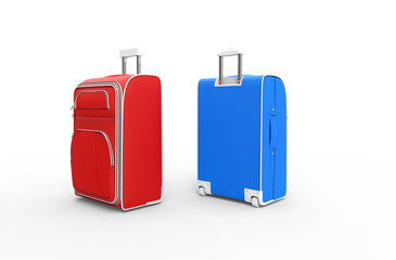 Red And Blue Luggage Bags