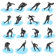 Set of ice-skating athlete grunge silhouettes