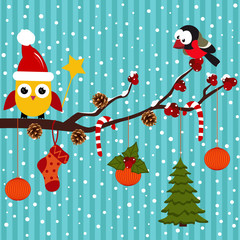 Birds and Christmas in the forest -  vector illustration