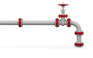 White pipe and valve