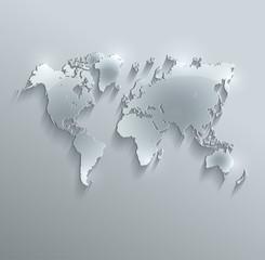 World map glass card paper 3D