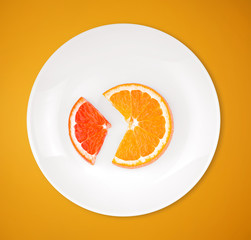 Slices of orange and grapefruit like diagramm, on a plate