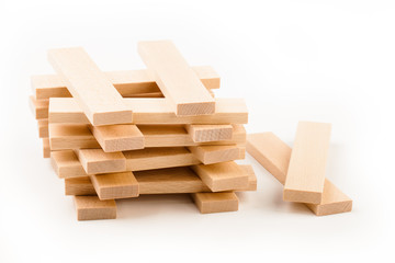 Wooden toy blocks  isolated on white background.