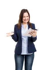 Business woman working with a tablet
