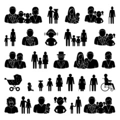 People and family icons set
