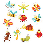 Set of funny insects