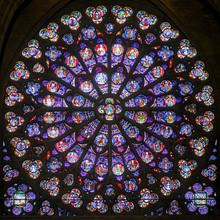 Rose vitrail dans la cathédrale de Notre Dame, Paris