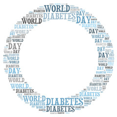 World diabetes day word collage concept.