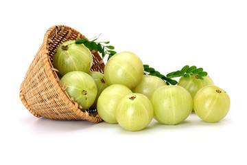 Gooseberries spilled out from a basket