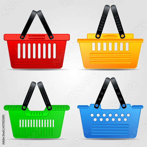 Shopping basket vector set