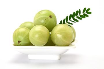 Gooseberries in a white bowl