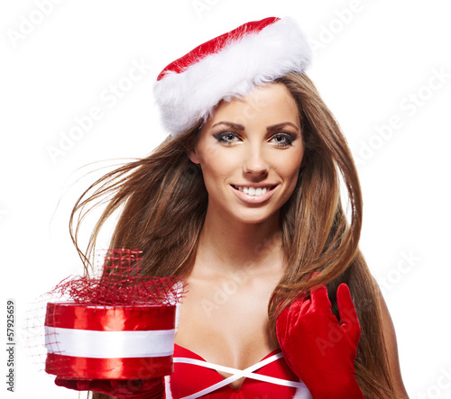 Christmas woman with gift
