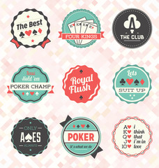 Vector Set: Retro Poker Labels and Icons