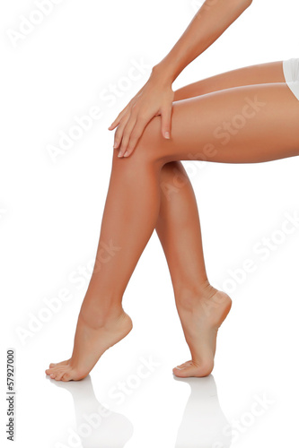 Beautiful female legs perfectly depilated