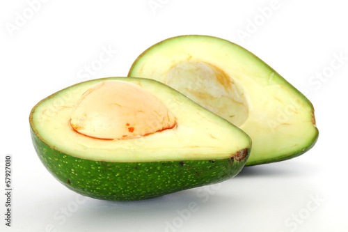 Ripe avacado isolated on white