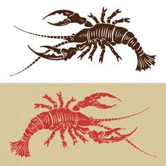 wodcut seafood icon