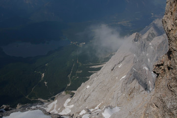 Rocky mountains covered with lake