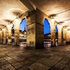 Arcades of the Plaza Mayor (Main square) in Leon,Castilla y Leon