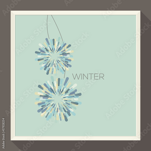 Poster with abstract snowflakes. Vector illustration