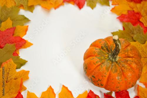 Fall Leaf Border with a Pumpkin
