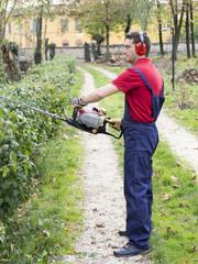 man working bush trimmer