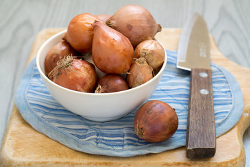 Shallot with knife on wooden cutting board