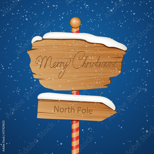 Vector Illustration of a Wooden Christmas Sign