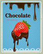 Vector Illustration of a Vintage Chocolate Strawberry Sign