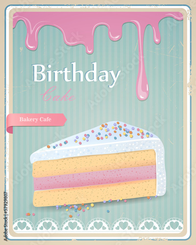 Vector Illustration of a Vintage Birthday Cake Sign