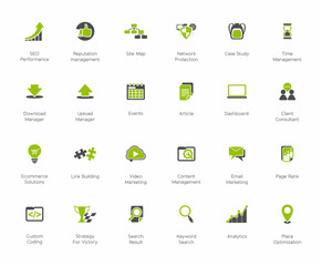 SEO and Development icon set2, green and dark series