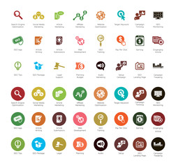 SEO and Development icons, colorful series