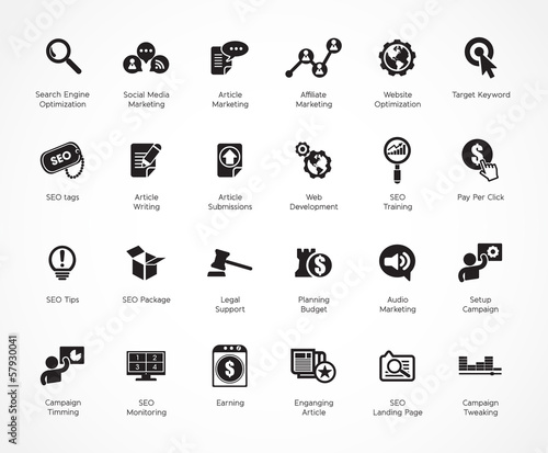 SEO and Development icons, black series