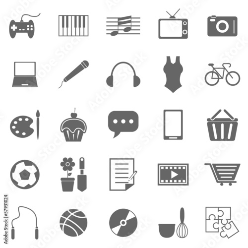 Hobby icons on white background